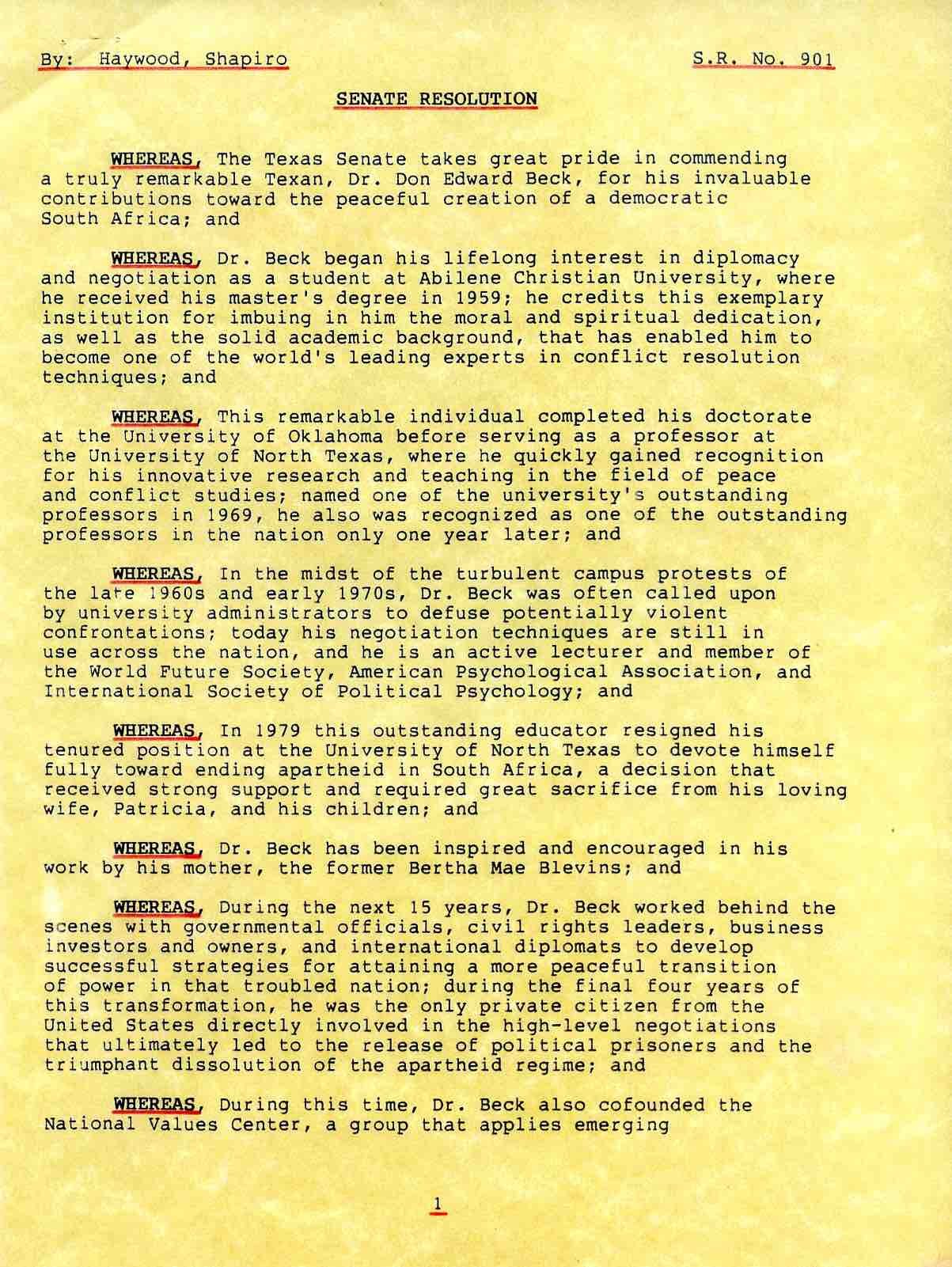 Texas Senate Resolution Page 1